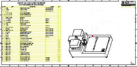 Assembly Drawing - Bill of Materials and Location of components - Test Fixture